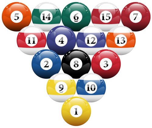 Racked billiard pool balls. Billiards clipart
