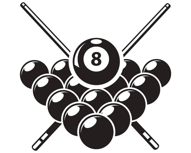 Billiards clipart billiards rack. Pool logo sticks crossed