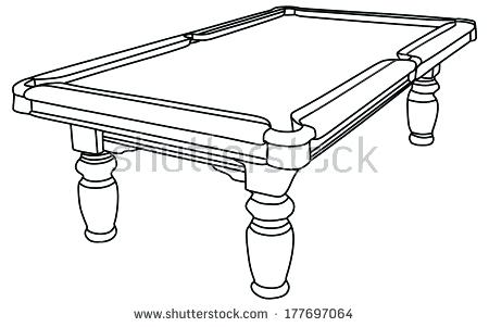 Pool table drawing at. Billiards clipart black and white