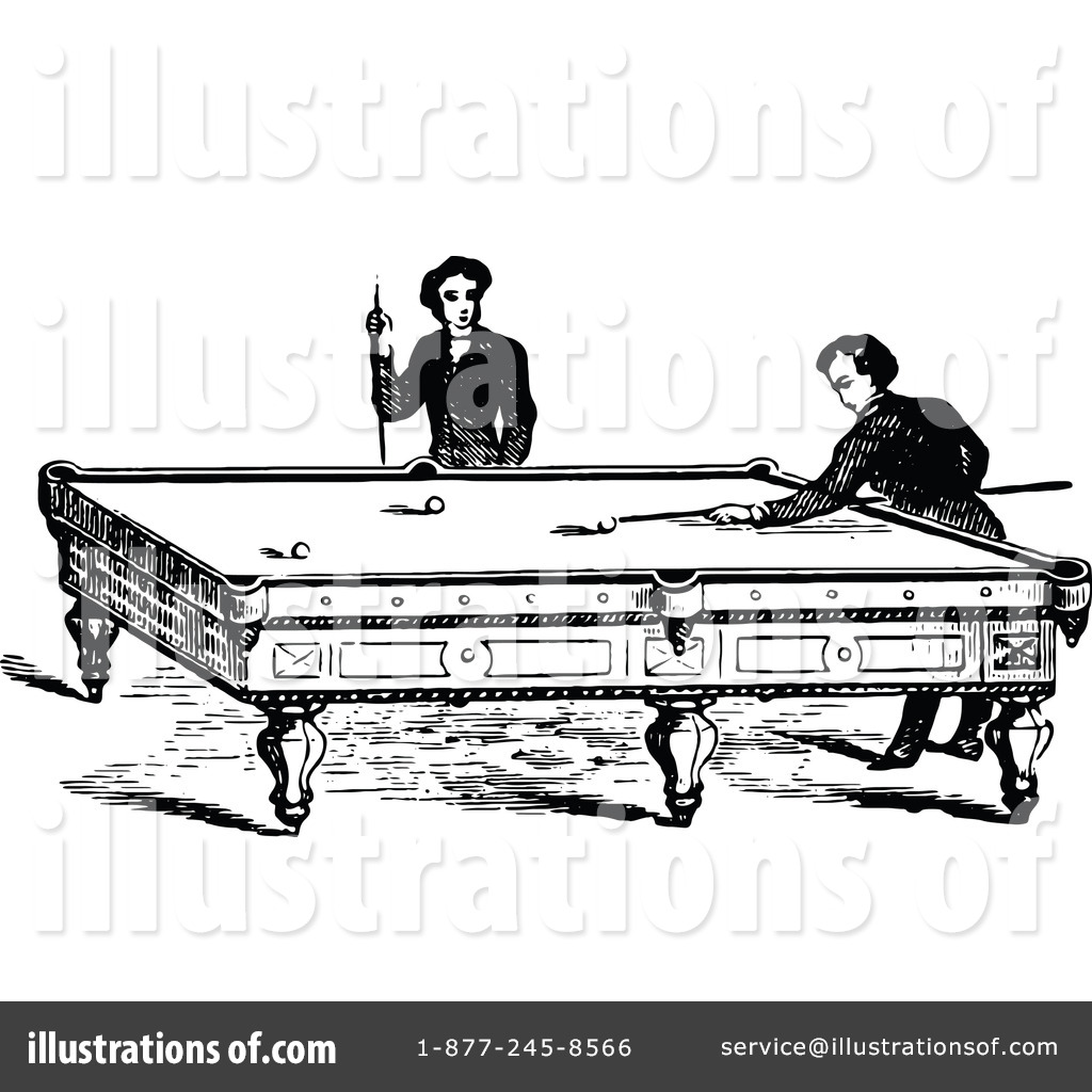 Illustration by prawny vintage. Billiards clipart black and white
