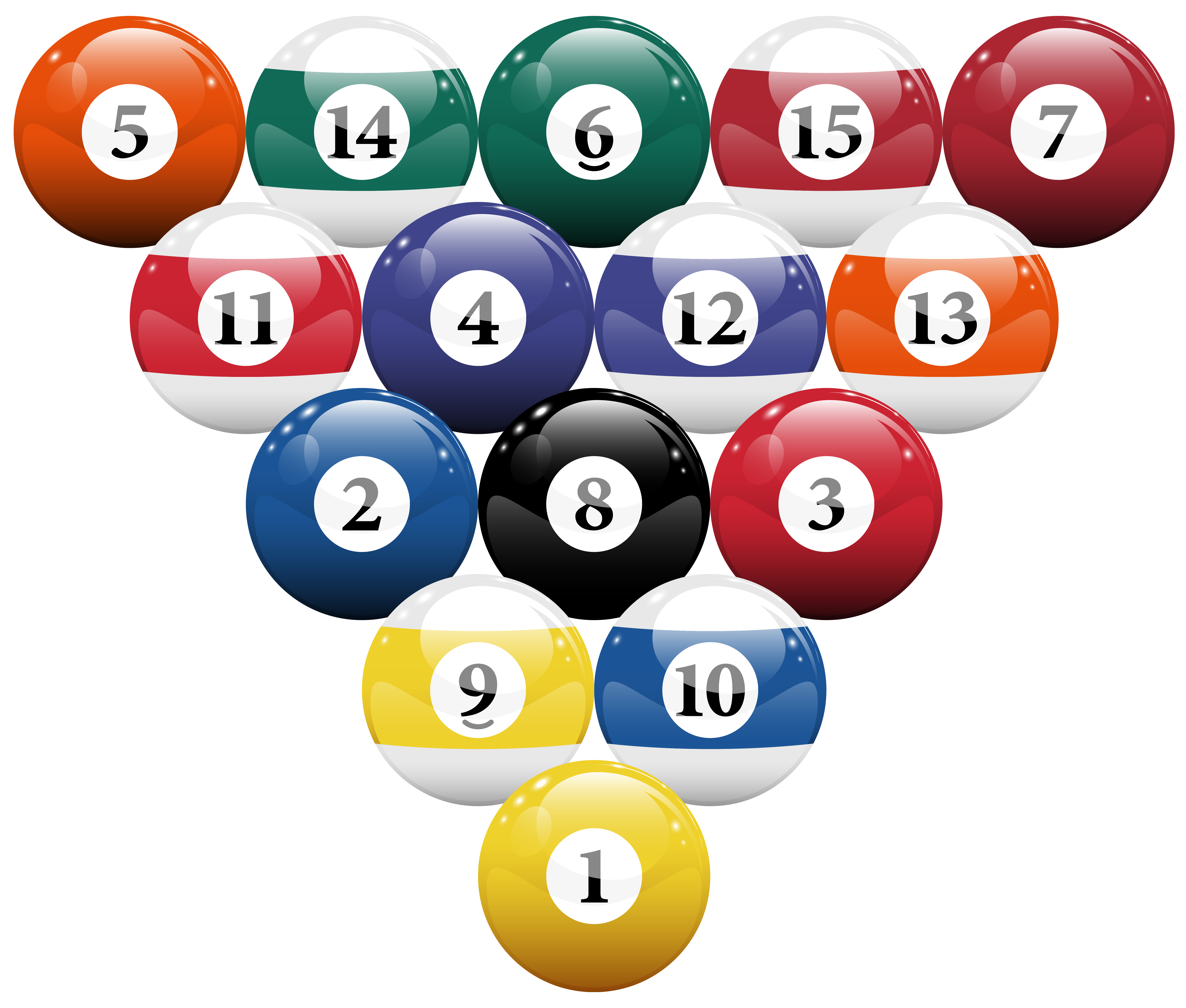 Racked billiard balls png. House clipart pool
