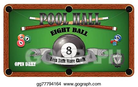Vector illustration billiard poster. Billiards clipart pool hall