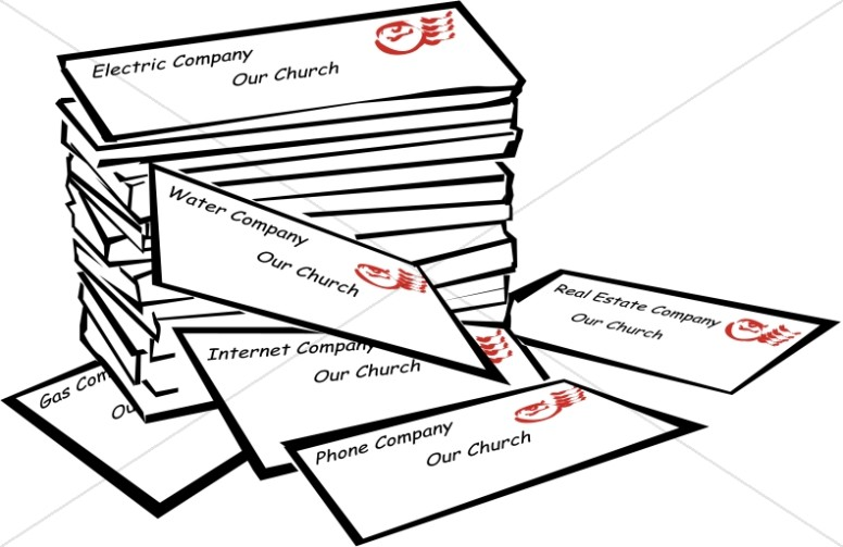 Stack of church management. Bills clipart