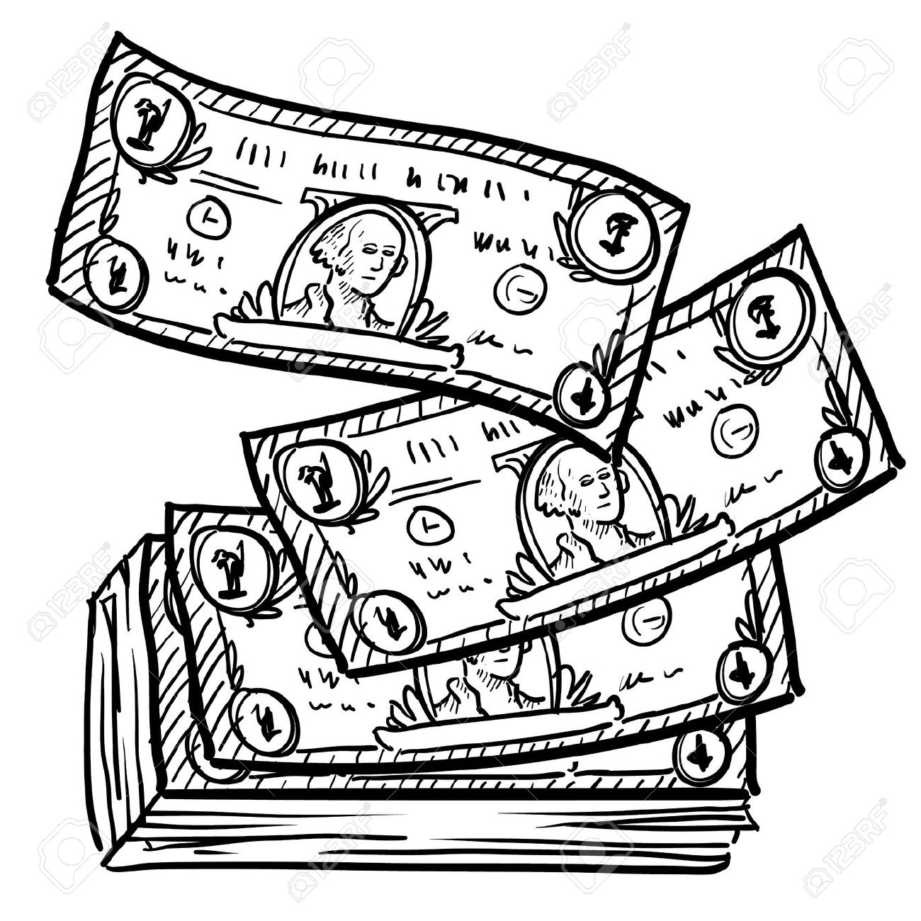 collection of money. Bills clipart black and white