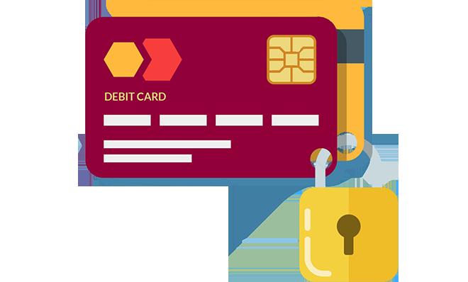 Card payment processing solutions. Bills clipart debit
