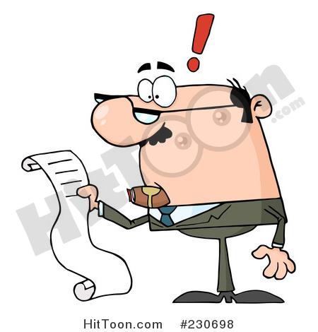 Bills clipart long. Businessman caucasian reading a