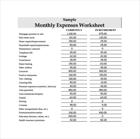 Expenses list sample incep. Bills clipart monthly expense