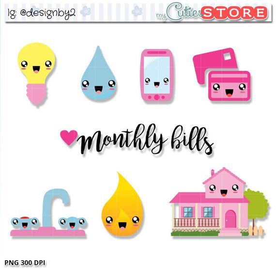 Bills clipart phone bill. Monthly kawaii cute due