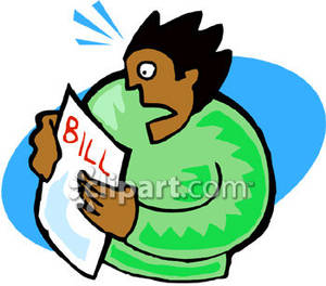 Bills clipart phone bill. African american person looking