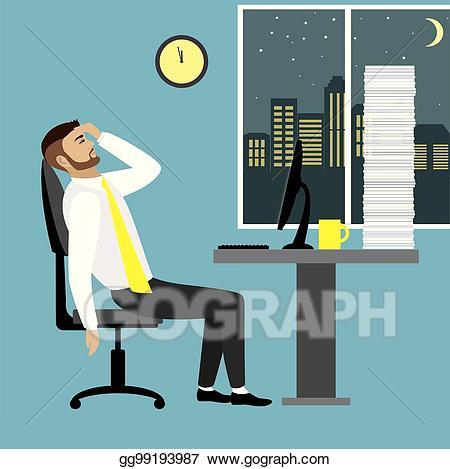 Eps illustration tired businessman. Binder clipart office worker