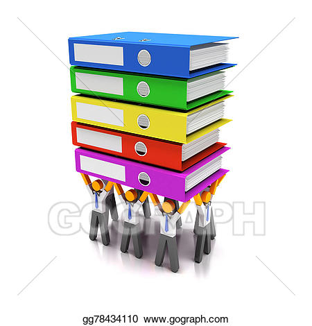 Binder clipart pile document. Stock illustration workers sharing