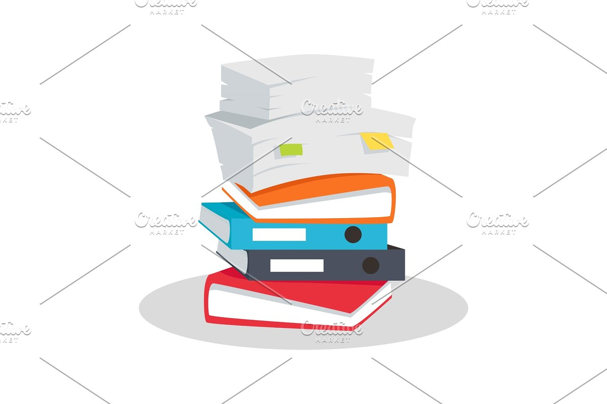Binder clipart pile document. Stack of documents vector