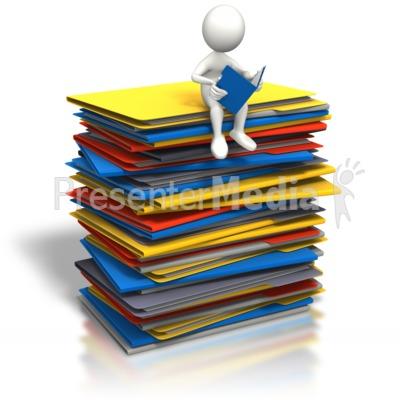Stick figure browsing open. Binder clipart pile document