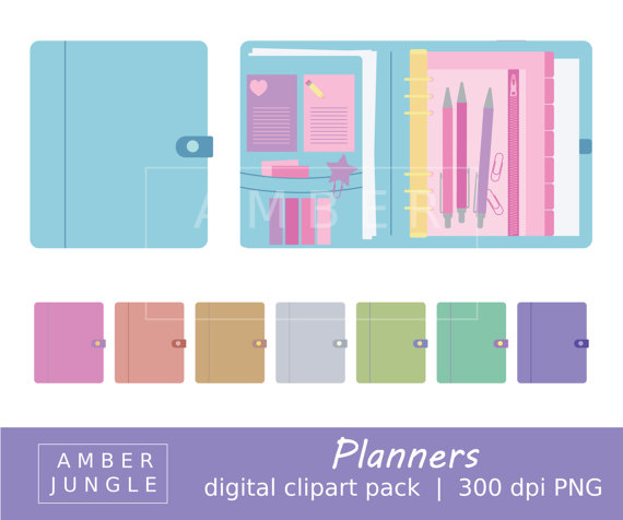 Planner clipart. Clip art for stickers