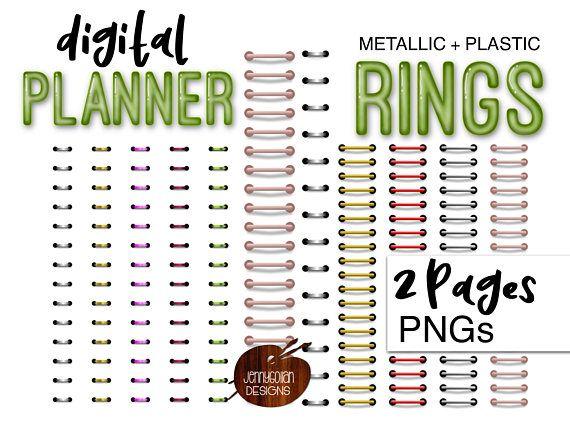 Digital planner ring bundle. Binder clipart ringed