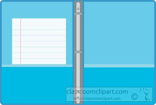 Binder clipart school binder. Supplies open blue three
