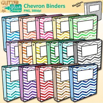 Chevron clip art supply. Binder clipart school binder