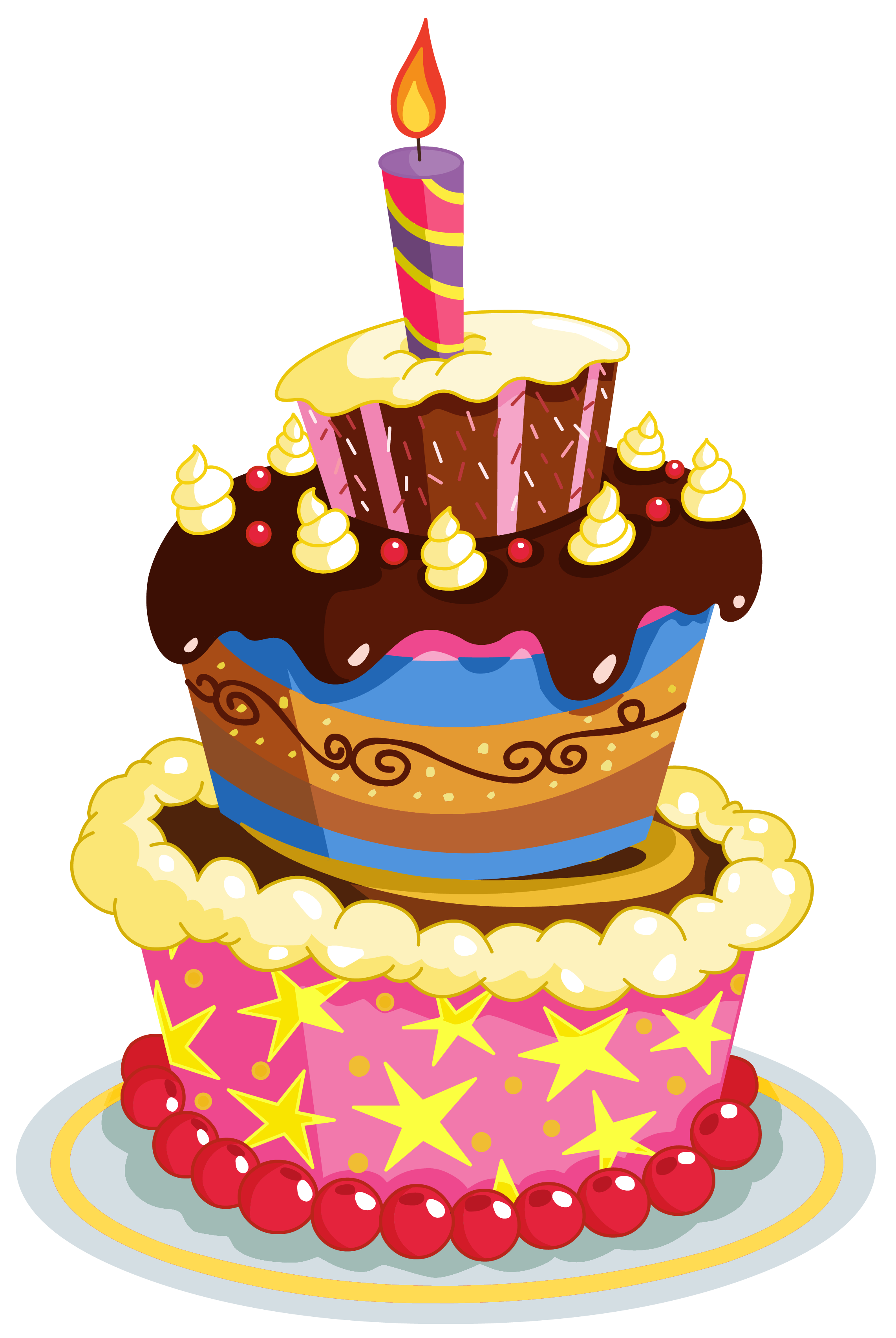 Clipart heart cake. Colorful birthday png clip