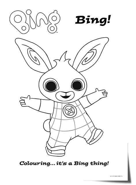 A complete set of Bing Bunny and friends colouring sheets to