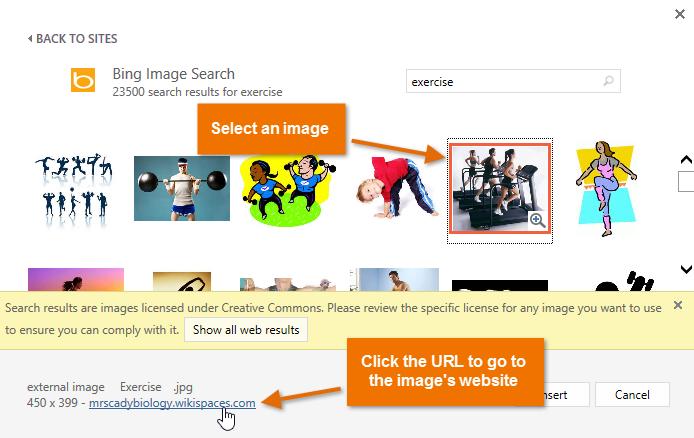 Inserting pictures page screenshot. Bing clipart powerpoint