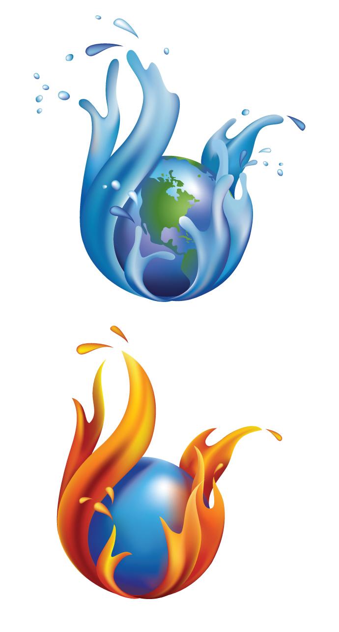 Bing clipart vector. Fire water world gallery