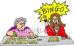 Bingo clipart animated. Women playing royalty free