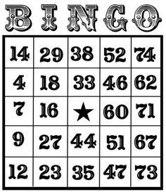Free cards for you. Bingo clipart black and white