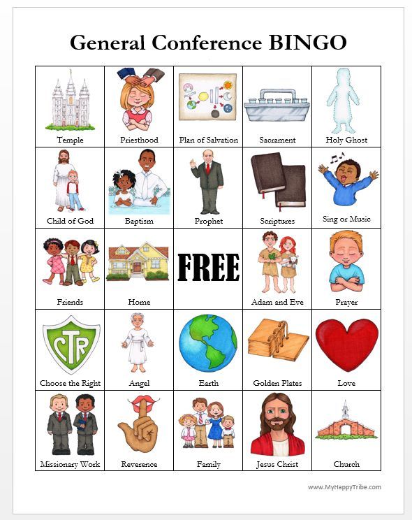 Bingo clipart church. General conference cards thanks
