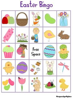 Game for kids free. Bingo clipart easter