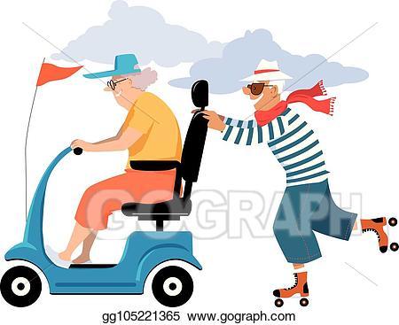 Vector illustration elderly couple. Bingo clipart geriatric