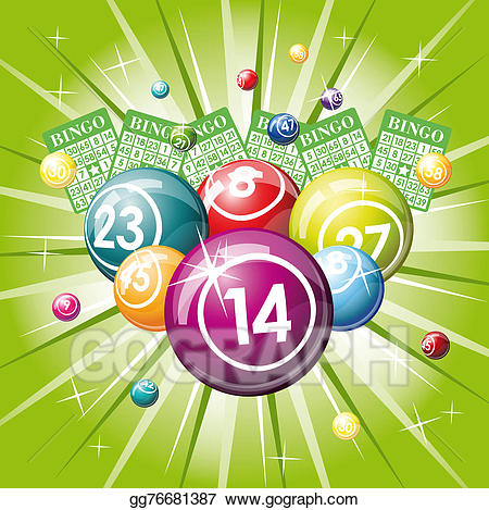 Stock illustration or lottery. Bingo clipart green