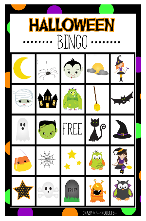 Crafts games for the. Bingo clipart halloween