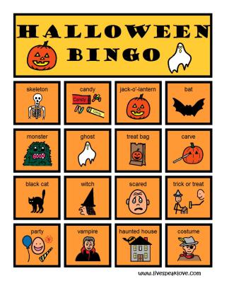 Bingo clipart halloween. Live speak love llc