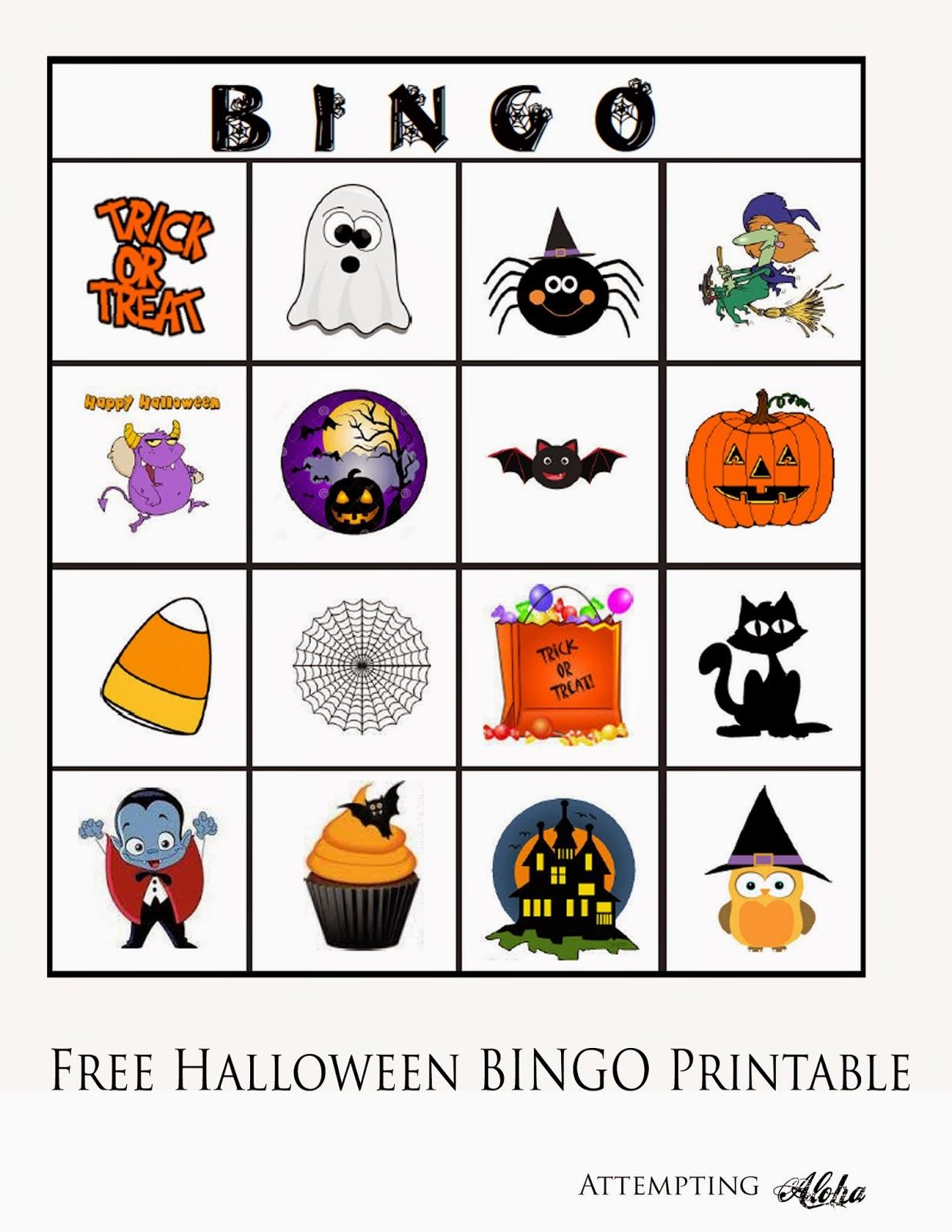 Attempting aloha free printable. Bingo clipart halloween