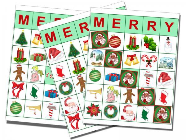 Printable cards for christmas. Bingo clipart holiday