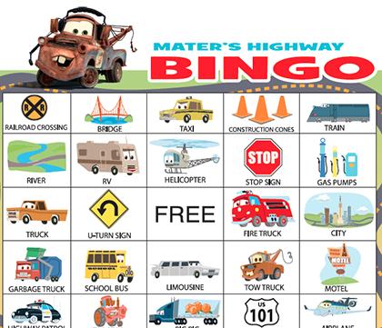 Bingo clipart keyword. Mater s highway disney