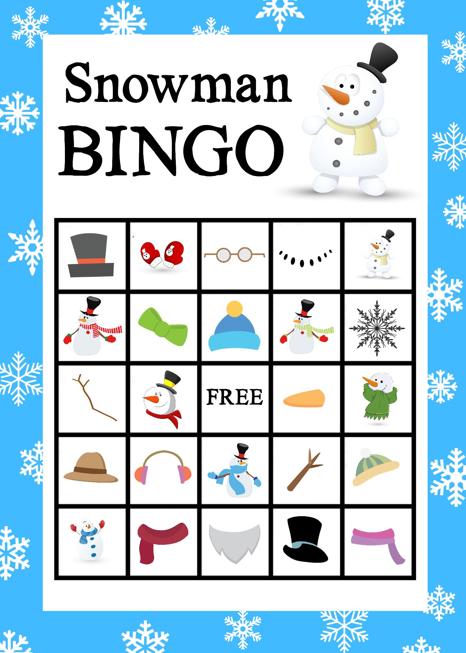 Bingo clipart keyword. Printable snowman game crazy