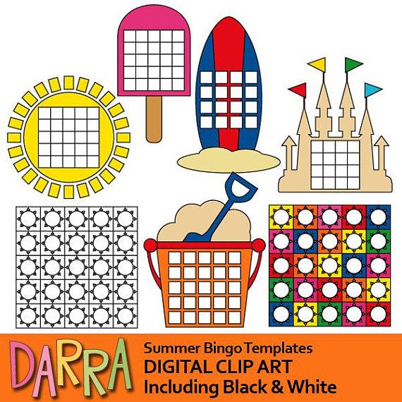 Bingo clipart summer. Templates commercial use diy