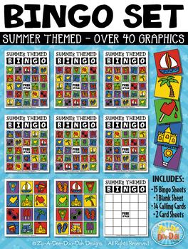 Bingo clipart summer. Cards printable set zip