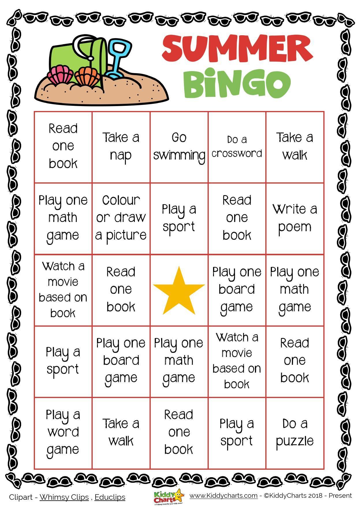 Day printable game kiddychartssummer. Bingo clipart summer