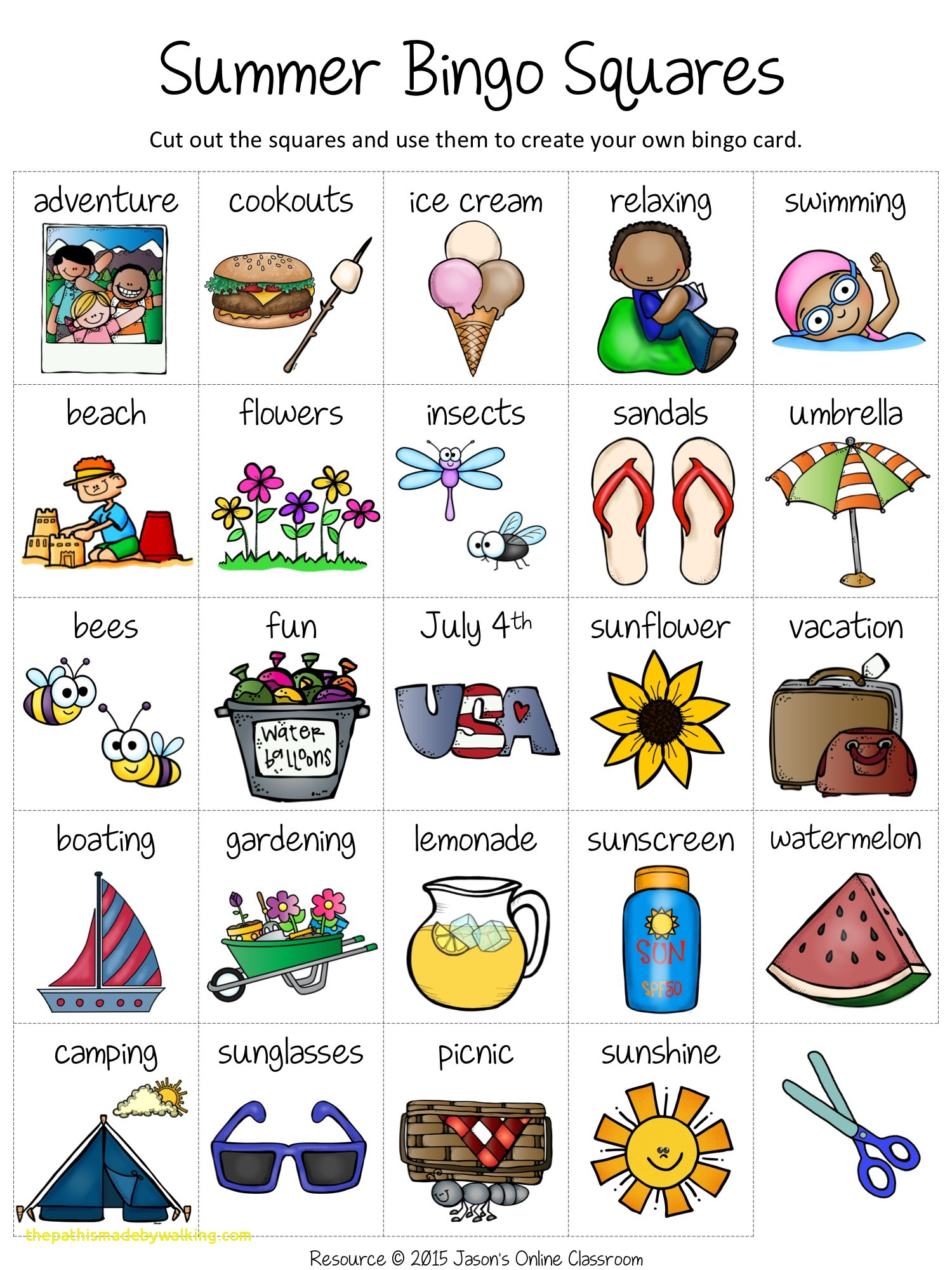 Bingo clipart summer. Activities unique free create