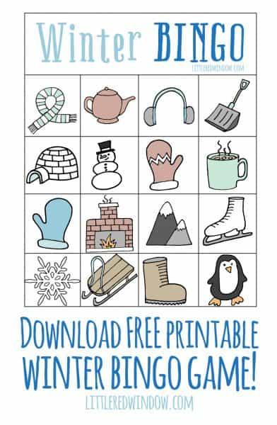 Winter free printable little. Bingo clipart tomorrow
