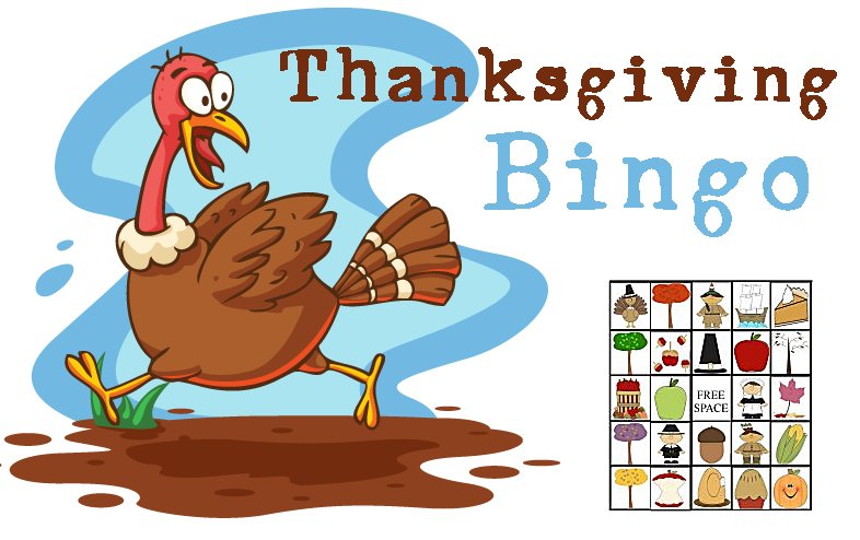 Thanksgiving party games printable. Bingo clipart turkey