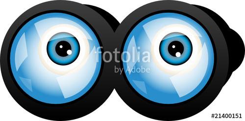 With blue eyes vector. Binoculars clipart eye