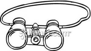 Simple binoculars with neck. Binocular clipart black and white