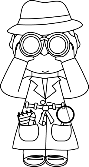Detective with binoculars clip. Announcements clipart black and white