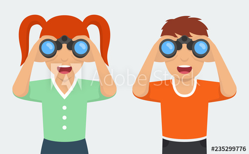 Happy and girl boy. Binocular clipart curious person