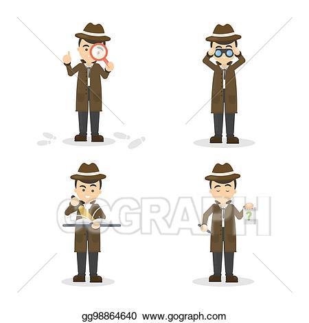Eps illustration cartoon set. Binocular clipart detective