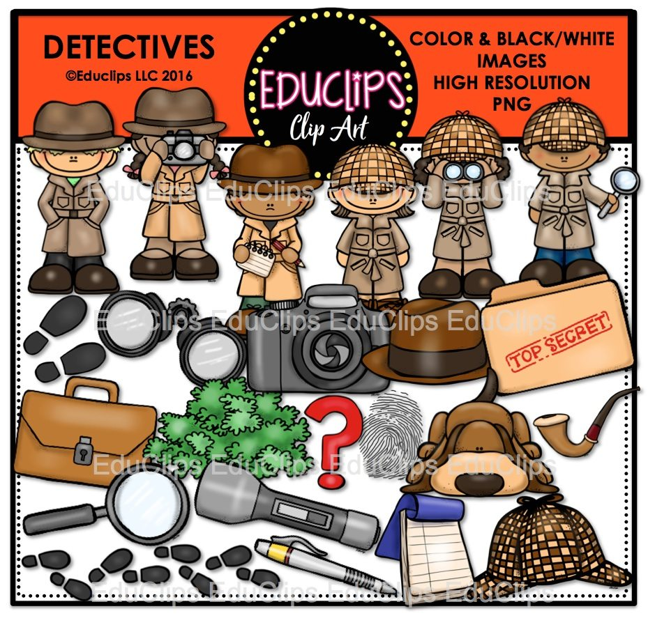 Binoculars clipart detective. Detectives clip art bundle
