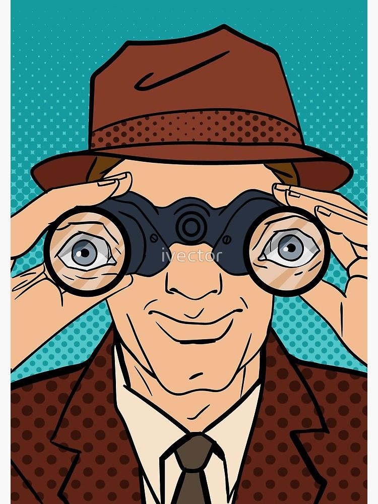 Binocular clipart detective. With binoculars man in